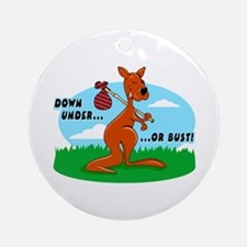 Down Under Or Bust Kangaroo Ornament (Round)