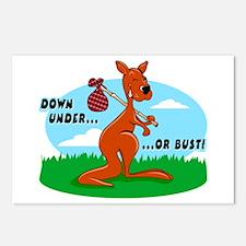 Down Under Or Bust Kangaroo Postcards (Pack of 8)