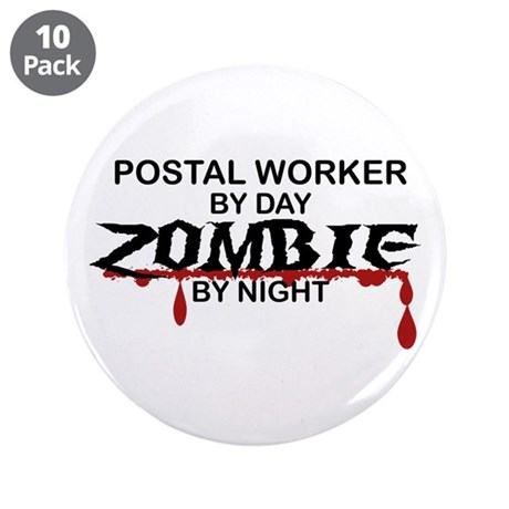 """Postal Worker Zombie 3.5"""" Button (10 pack)"""