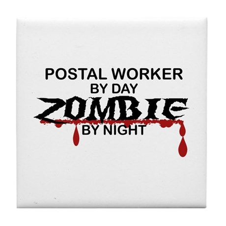 Postal Worker Zombie Tile Coaster