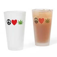 Peace Love Cannabis Drinking Glass