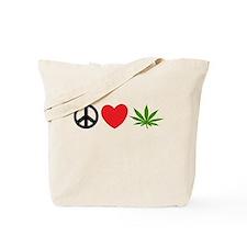 Peace Love Cannabis Tote Bag