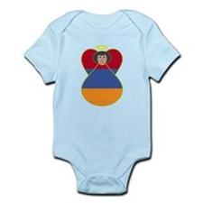 Armenia Flag Angel Black Hair Infant Bodysuit