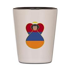Armenia Flag Angel Black Hair Shot Glass