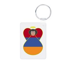 Armenia Flag Angel Black Hair Keychains