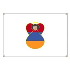 Armenia Flag Angel Black Hair Banner