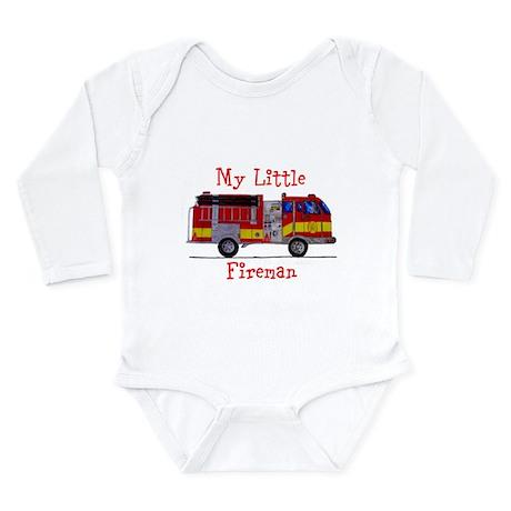 Little Fireman Long Sleeve Infant Bodysuit