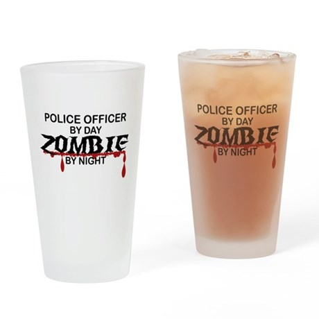 Police Officer Zombie Drinking Glass