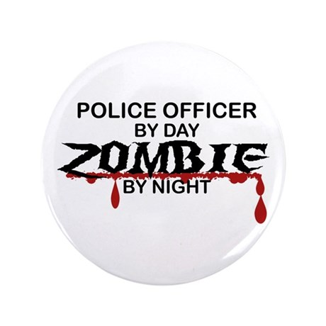 """Police Officer Zombie 3.5"""" Button (100 pack)"""