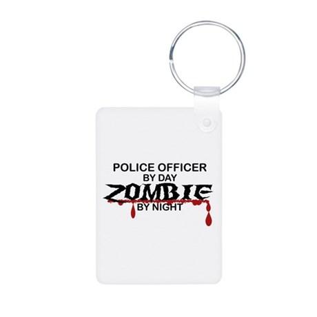 Police Officer Zombie Aluminum Photo Keychain