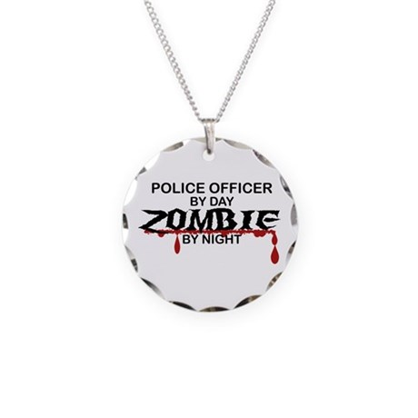 Police Officer Zombie Necklace Circle Charm