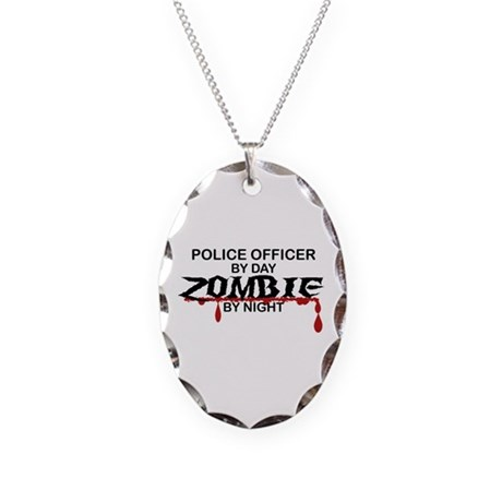 Police Officer Zombie Necklace Oval Charm