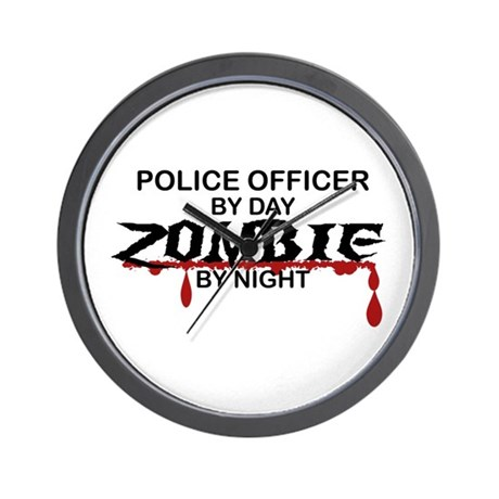 Police Officer Zombie Wall Clock