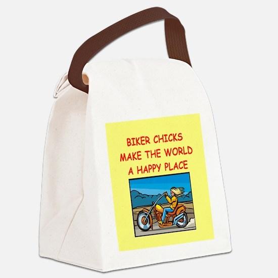 BIKERCHICK.png Canvas Lunch Bag