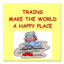 "TRAINS.png Square Car Magnet 3"" x 3"""