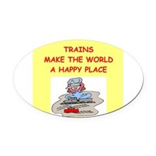 TRAINS.png Oval Car Magnet