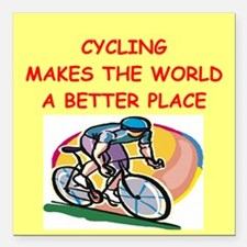 """CYCLING.png Square Car Magnet 3"""" x 3"""""""