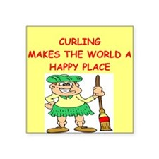 """CURLING.png Square Sticker 3"""" x 3"""""""