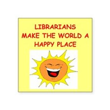 "LIBRARY.png Square Sticker 3"" x 3"""