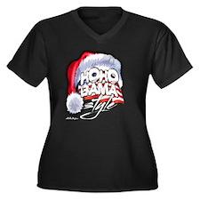 Obama Style Santa Women's Plus Size V-Neck Dark T-