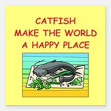 "CATFISH.png Square Car Magnet 3"" x 3"""