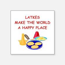 "LATKES.png Square Sticker 3"" x 3"""