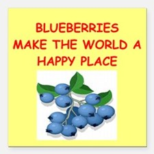 """BLUEBERRIES.png Square Car Magnet 3"""" x 3"""""""