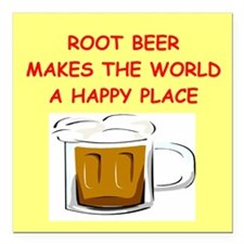 "ROOT BEER Square Car Magnet 3"" x 3"""