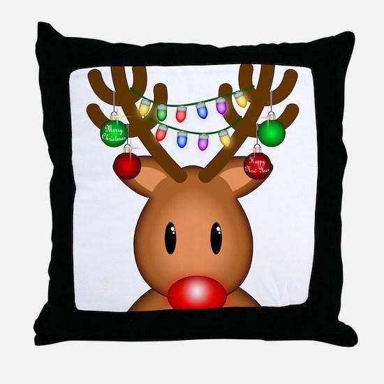 Reindeer with lights Throw Pillow