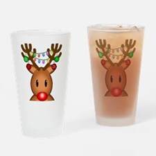 Reindeer with lights Drinking Glass