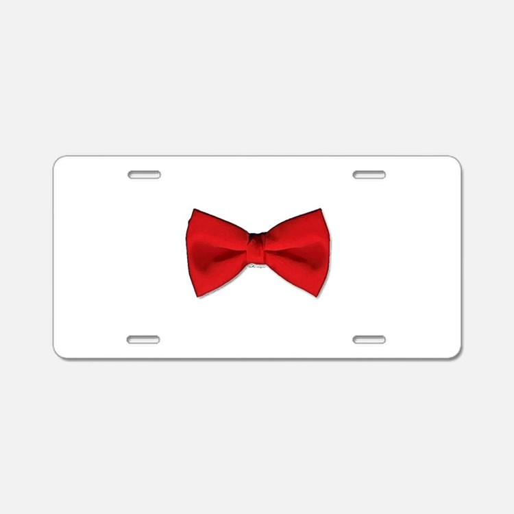 Bow Tie Red Aluminum License Plate