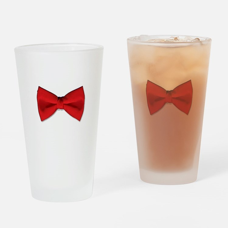 Bow Tie Red Drinking Glass