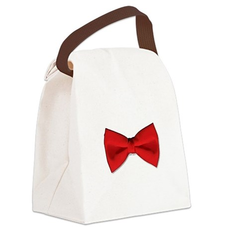 Bow Tie Red Canvas Lunch Bag
