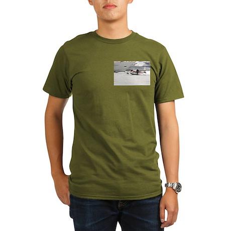 Organic Men's T-Shirt (dark) With Chalk's Seaplane
