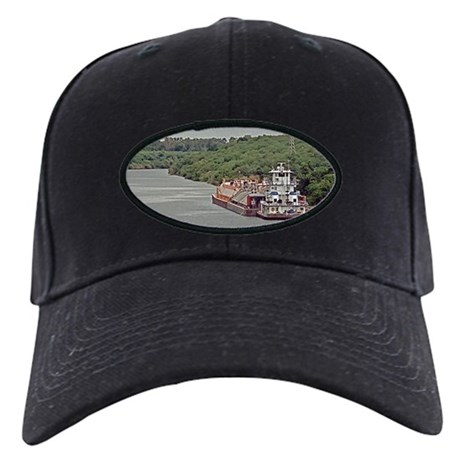 Black Cap with Barges And Towboat On Canal