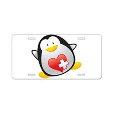 Penguin Nurse Aluminum License Plate