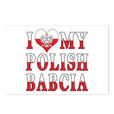 I Heart My Polish Babcia Flag Postcards (Package o