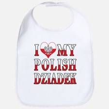 I Heart My Polish Dziadek Flag Bib