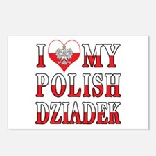 I Heart My Polish Dziadek Flag Postcards (Package