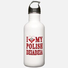 I Heart My Polish Dziadzia Water Bottle