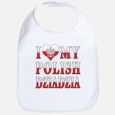 I Heart My Polish Dziadzia Flag Bib