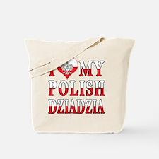 I Heart My Polish Dziadzia Flag Tote Bag