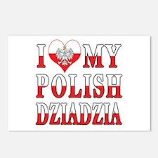 I Heart My Polish Dziadzia Flag Postcards (Package