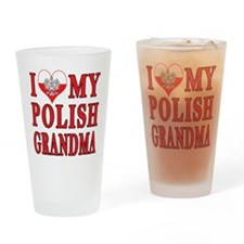 I Heart My Polish Grandma Drinking Glass