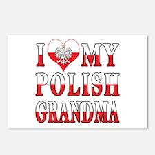 I Heart My Polish Grandma Flag Postcards (Package