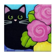 Cute Cat art Tile Coaster