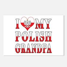 I Heart My Polish Grandpa Flag Postcards (Package
