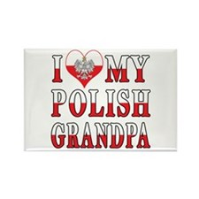 I Heart My Polish Grandpa Flag Rectangle Magnet