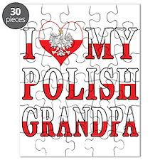 I Heart My Polish Grandpa Flag Puzzle