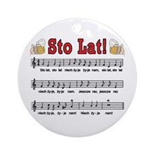 Sto Lat! Song With Beer Mugs Ornament (Round)
